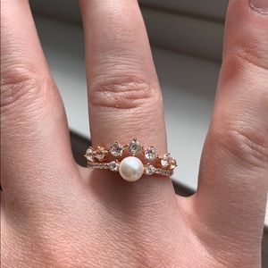 Sterling Silver Rose Gold Crown Ring Size 6